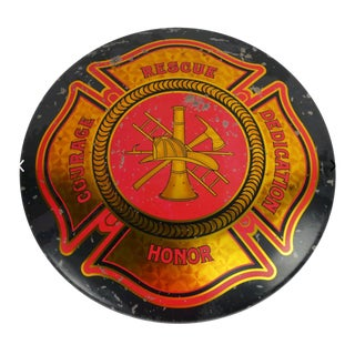 Fire Department Maltese Cross Vintage Domed Sign For Sale