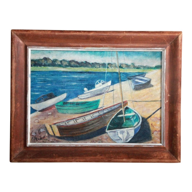 Vintage Impressionist Oil Painting of Sailboats on Kennebunk Maine Beach - Image 1 of 5