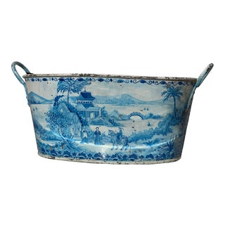 Blue Tole French Style Chinoiserie Planter For Sale