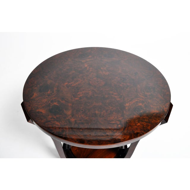 Wood Hungarian Walnut Veneer Round Side Tables - a Pair For Sale - Image 7 of 13