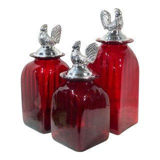 Mexican Hand Crafted Red Glass Pewter Rooster Lid Canisters Kitchen Set - Set of 3 For Sale