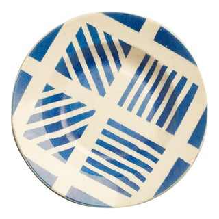 Mid-Century Modern Decorative Blue & White Plates - a Pair For Sale