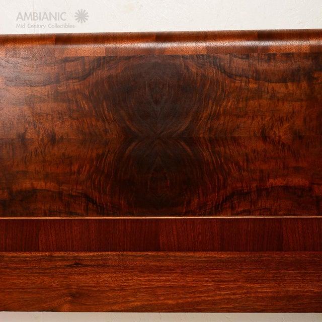 Art Deco Style Full Size Bed, Walnut Wood - Image 5 of 8