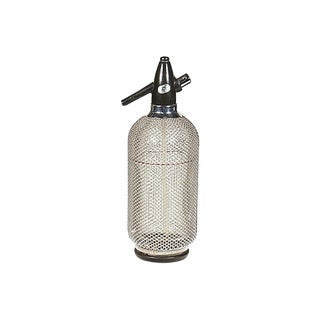1960s Glass & Metal Mesh Seltzer Bottle For Sale