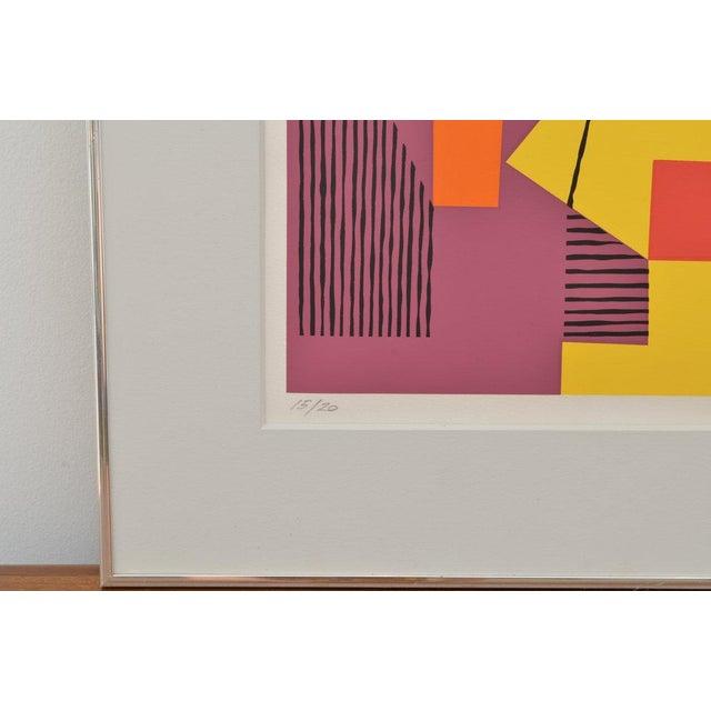 Danish Modern Danish Composition on Screenprint by Ejnar Pedersen, 1979 15/20 For Sale - Image 3 of 4