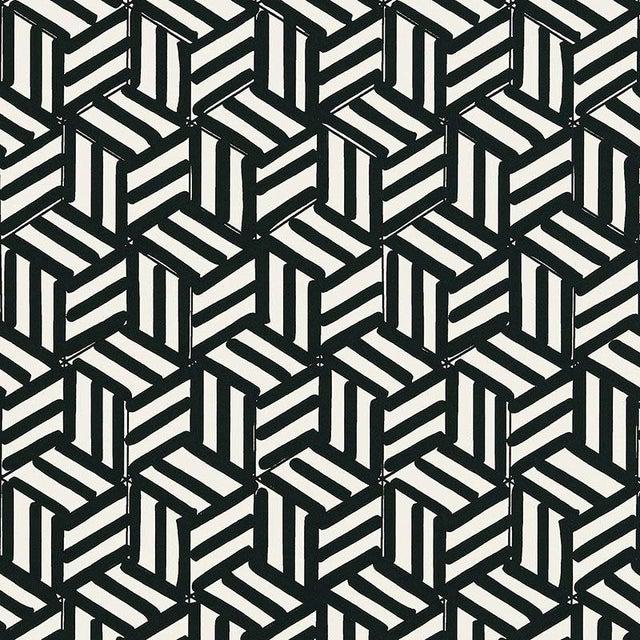 Schumacher Tumbling Blocks Stripes Geometric Wallpaper in Black - 2-Roll Set (9 Yards) For Sale