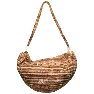 Chanel Tan Tweed & Sequin Woven Hammock Hobo Shoulder Bag For Sale