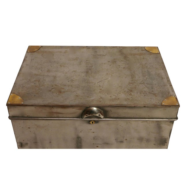 Swedish Steel Trunk fitted onto a later steel and brass custom stand. Possibly a military box that has been stripped and...