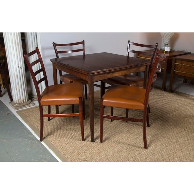 Rosewood Game Table & 4 Chairs For Sale - Image 9 of 13