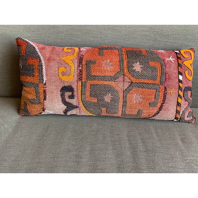 Abstract Oblong Pillow Cut From Handmade Antique Rug 3 Available For Sale - Image 3 of 9