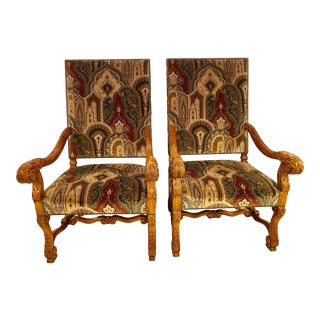 Throne Armchairs With a Versace Style Cut and Printed Velvet Fabric - a Pair For Sale