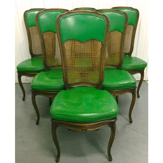 6 French Provincial Caned Dining Chairs-Green Leather Cushions - Image 8 of 8