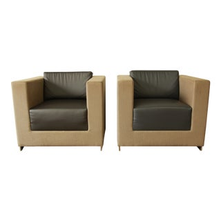 Bernhardt Modern Cube Lounge Chairs - a Pair For Sale