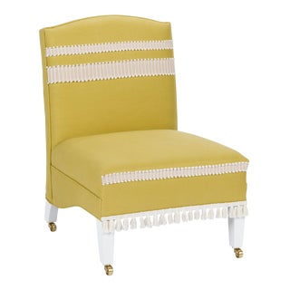 Casa Cosima Sintra Chair in Citron Linen For Sale