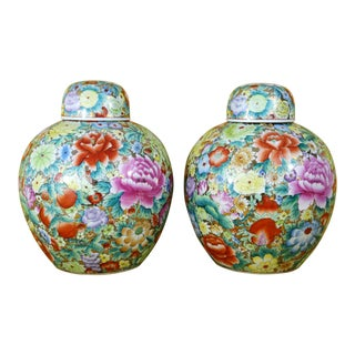 Ginger Jars With Flowers, Pomegranates & Gold Gilt - a Pair For Sale