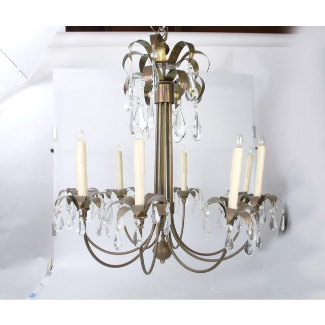 Brass Palm Leaf Chandelier - Image 9 of 10