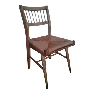 Mid-Century Modern Rush and Hardwood Side Chair For Sale