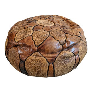 Vintage Moroccan Leather Ottoman Pillow