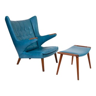 1960s Hans Wegner Leather Papa Bear Chair & Ottoman - a Pair For Sale