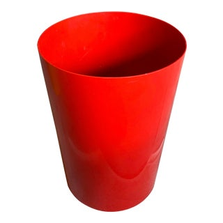Vintage Red Kartell G. Colombini Plastic Wastebasket For Sale