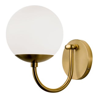 Oxford Single Wall Light in Brushed Brass and Opal Glass For Sale