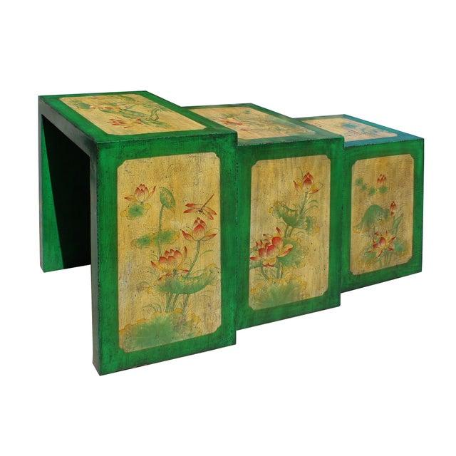 Distressed Oriental Lotus Flower Nesting Tables Set Of 3