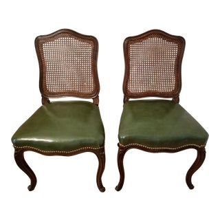 Late 19th Century Louis XV Style Cane Back Green Leather Chairs- A Pair For Sale