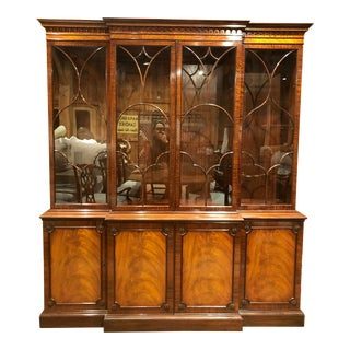 1940s Schmieg and Kotzian Two Part Breakfront China Cabinet For Sale