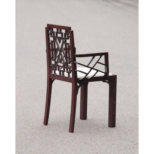 Gorgeous Chinese Chippendale Style Fretwork Dining Chairs - Set of 6 - Image 7 of 10