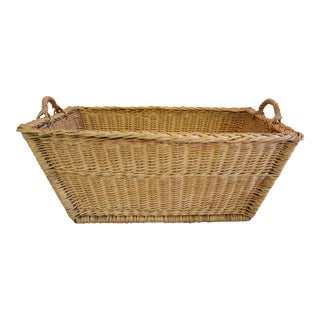 French Woven Willow Market Basket W/ Handles For Sale