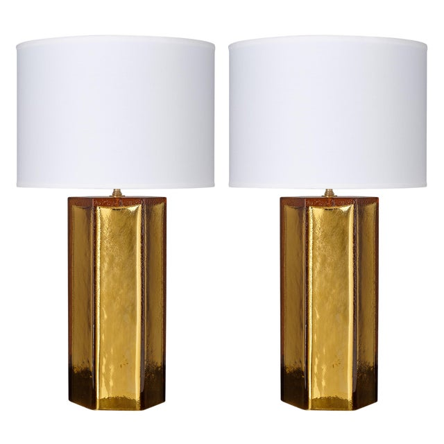 Gold Leaf and Amber Murano Glass Lamps For Sale