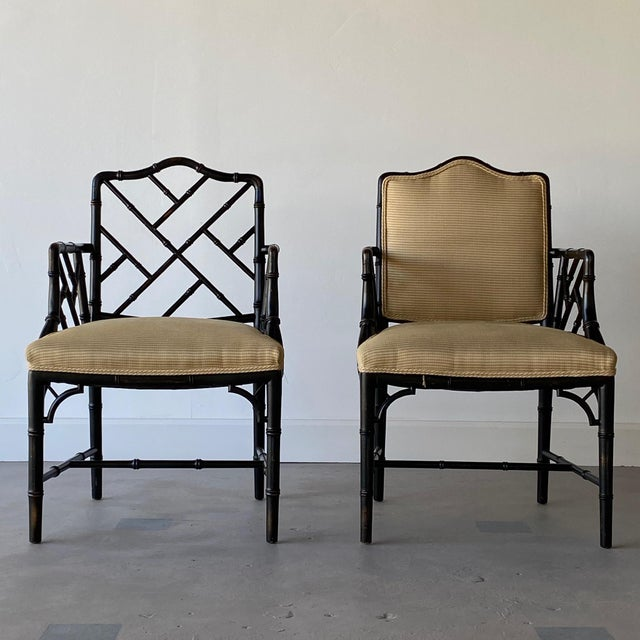 Mid 20th Century Faux Bamboo Regency Armchairs - a Pair For Sale - Image 9 of 9
