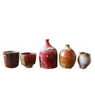 Assembled Diminutive Glazed Pottery - Set of 5 For Sale