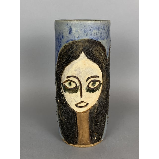 Italian Mid-Century Face Vase, Signed Studio Pottery For Sale - Image 3 of 11