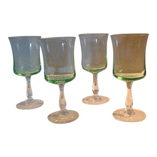 Vintage Pale Green Glass Bar Ware - Set of 4 For Sale