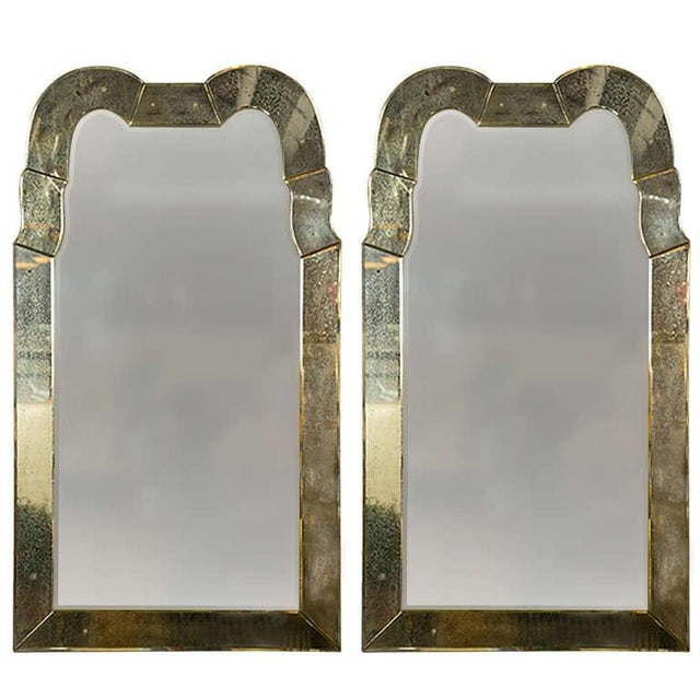 Queen Anne Style Venetian Glass Mirrors - A Pair For Sale