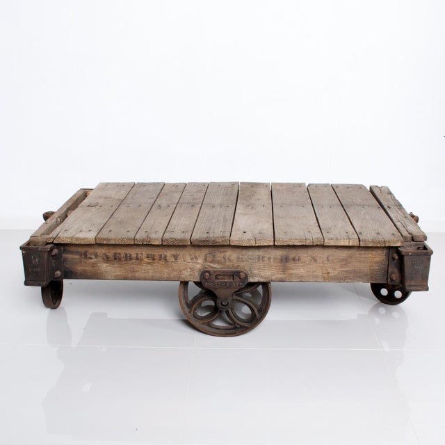 "Black Vintage Antique Industrial Cast Iron & Wood Coffee Table ""Lineberry Wilkesboro NC"" For Sale - Image 8 of 11"