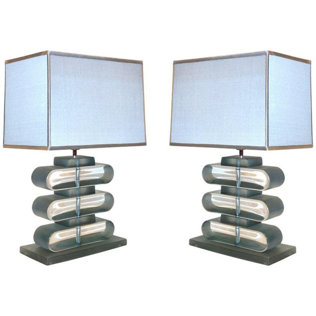 Italian Modern Nickel and Smoked Aqua Murano Glass Architectural Lamps - a Pair For Sale - Image 10 of 10