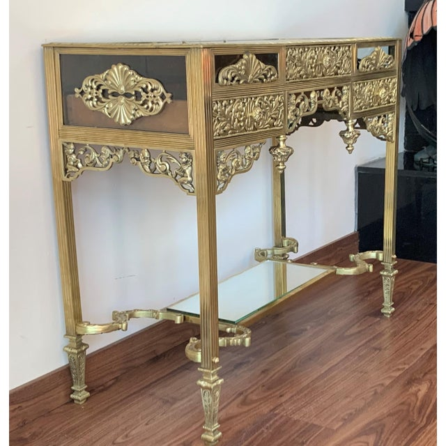 19th French Bronze Mirrored Dressing Table or Vanity With Three Drawers For Sale In Miami - Image 6 of 12