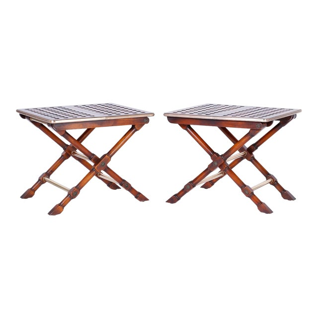 Yacht Style Folding Tables - A Pair For Sale