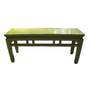 1900s Chinese Lacquered Lime Green Bench For Sale