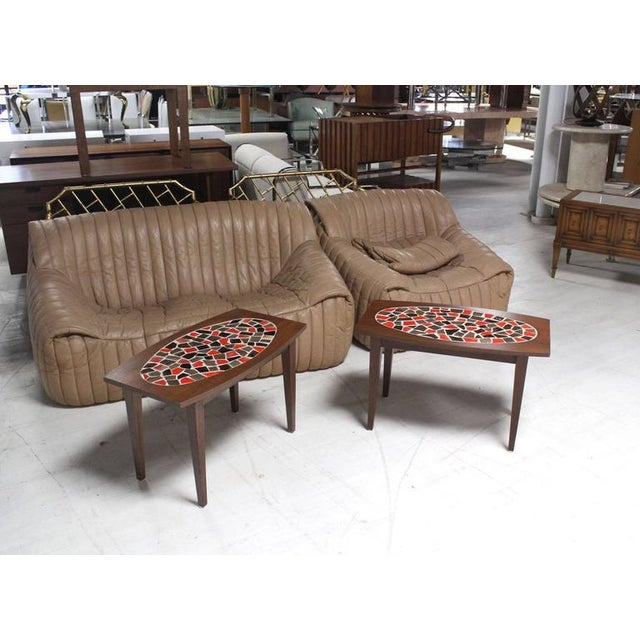 Brown Mid Century Vintage Walnut and Tile Mosaic Side Tables- A Pair For Sale - Image 8 of 9