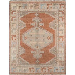 """Erin Gates Concord Walden Rust Hand Knotted Wool Area Rug 5'6"""" X 8'6"""" For Sale"""