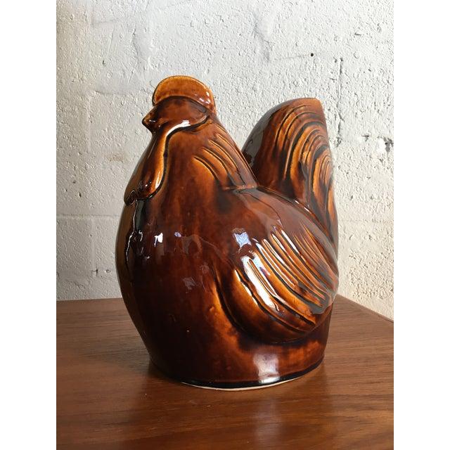 Vintage 1960's-70's Mid Century Ceramic Glaze Rooster Figurine This beautiful ceramic piece features Mid Century Danish...