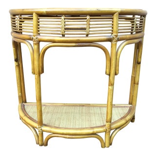 Vintage Boho Chic Bamboo & Rattan Demi Lune Table For Sale