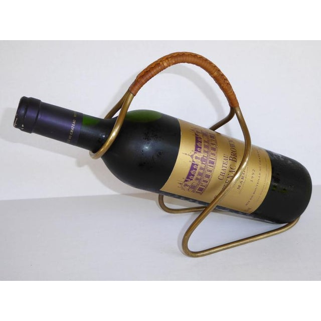 Carl Auboch Modern and Elegant 1950s Brass and Wicker Wine Server. Austria For Sale - Image 10 of 11
