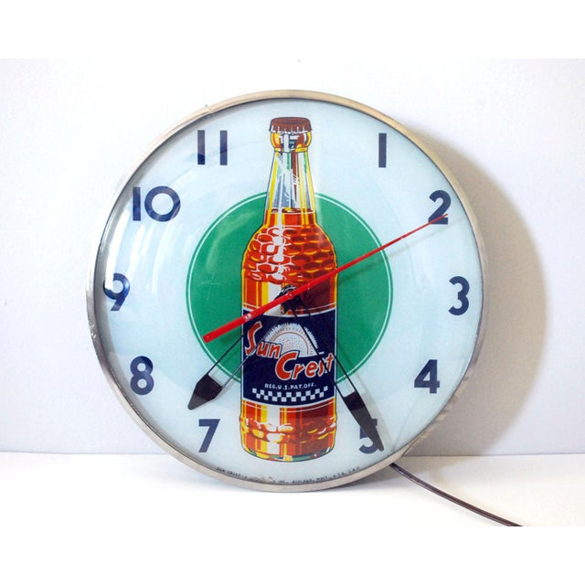 Green 1950s Vintage Sun Crest Soda Bubble Glass Wall Clock For Sale - Image 8 of 8