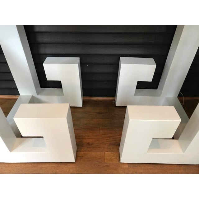Vintage White Lacquered Greek Key Console - Image 4 of 5