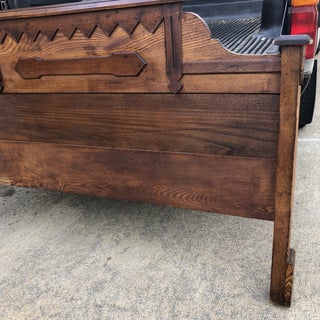1920s Boho Chic Hand-Carved Wooden Headboard Preview