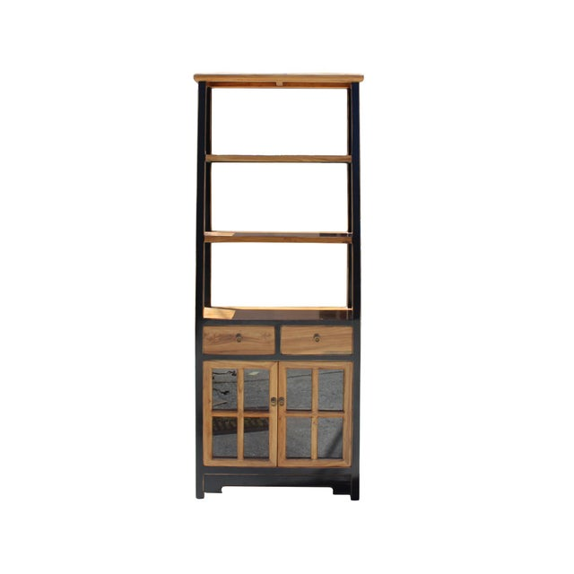 Wood Oriental Black Brown Glass Door China Bookcase Cabinet For Sale - Image 7 of 7